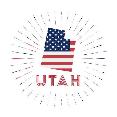 Utah sunburst badge. The us state sign with map of Utah with American flag. Colorful rays 向量圖像