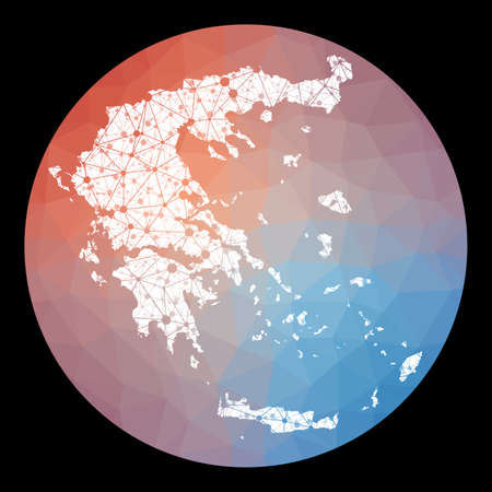 Vector network Greece map. Map of the country with low poly background. Rounded Greece illustration in technology, internet, network, telecommunication concept style . Artistic vector illustration.