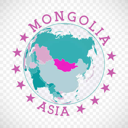 Badge of country with map of Mongolia in world context. Country sticker stamp with globe map and round text. Classy vector illustration.