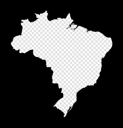 Stencil map of Brazil. Simple and minimal transparent map of Brazil. Black rectangle with cut shape of the country. Awesome vector illustration.