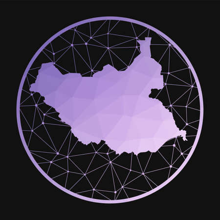 South Sudan icon. Vector polygonal map of the country. South Sudan icon in geometric style. The country map with purple low poly gradient on dark background.