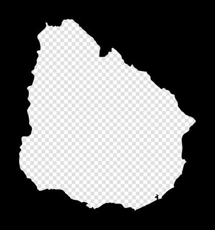 Stencil map of Uruguay. Simple and minimal transparent map of Uruguay. Black rectangle with cut shape of the country. Radiant vector illustration.