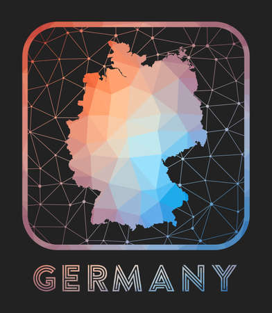 Germany map design. Vector low poly map of the country. Germany icon in geometric style. The country shape with polygnal gradient and mesh on dark background.