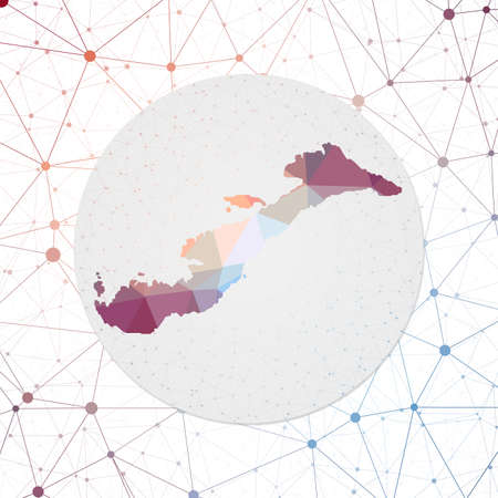 Abstract vector map of Amorgos. Technology in the island geometric style poster. Polygonal Amorgos map on 3d triangular mesh