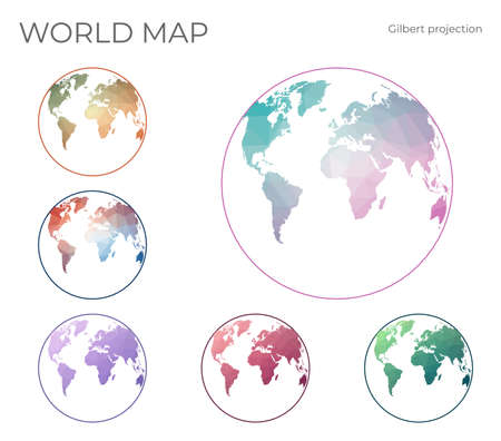 Low Poly World Map Set. Gilbert's two-world perspective projection. Collection of the world maps in geometric style. Vector illustration.