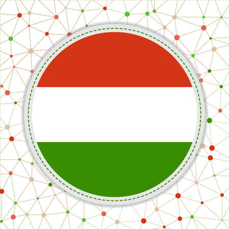 Flag of Hungary with network background. Hungary sign. Classy vector illustration.