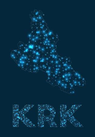 Krk network map. Abstract geometric map of the island. Internet connections and telecommunication design. Cool vector illustration. Vektoros illusztráció