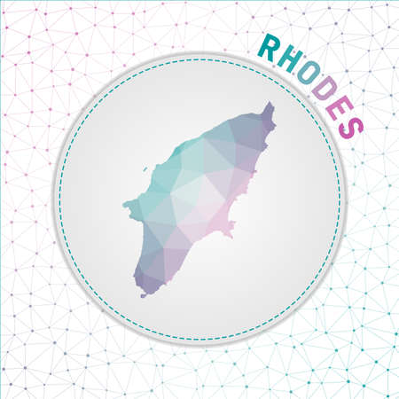 Vector polygonal Rhodes map. Map of the island with network mesh background. Rhodes illustration in technology, internet, network, telecommunication concept style . Artistic vector illustration.