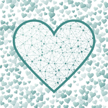 Valentine Day Sign. Geometric heart mesh in mint color shades, mint connections. Amazing network style vector illustration.