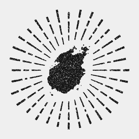 Vintage map of Paros. Grunge sunburst around the island. Black Paros shape with sun rays on white background. Vector illustration. Archivio Fotografico - 147736106