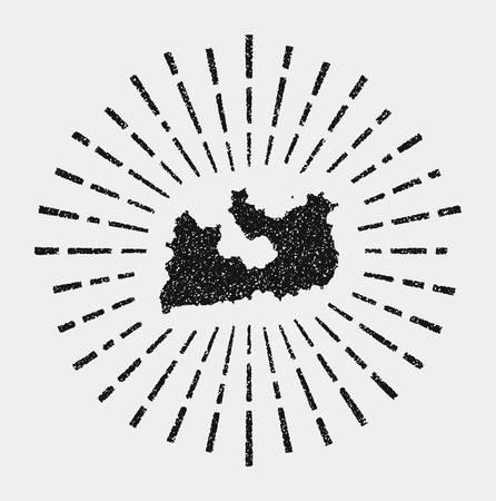 Vintage map of Milos. Grunge sunburst around the island. Black Milos shape with sun rays on white background. Vector illustration.