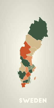 Sweden poster in retro style. Map of the country with regions in autumn color palette. Shape of Sweden with country name. Cool vector illustration. Illustration