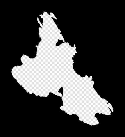 Stencil map of Krk. Simple and minimal transparent map of Krk. Black rectangle with cut shape of the island. Powerful vector illustration.