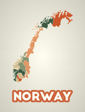 Norway poster in retro style. Map of the country with regions in autumn color palette. Shape of Norway with country name. Awesome vector illustration. Illustration