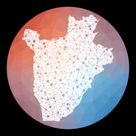Vector network Burundi map. Map of the country with low poly background. Rounded Burundi illustration in technology, internet, network, telecommunication concept style . Radiant vector illustration.