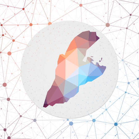 Abstract vector map of Kastellorizo. Technology in the island geometric style poster. Polygonal Kastellorizo map on 3d triangular mesh backgound. EPS10 Vector. Vettoriali