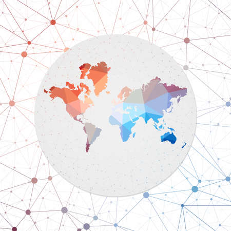 Abstract vector map of The World. Technology in the world geometric style poster. Polygonal The World map on 3d triangular mesh backgound. EPS10 Vector.