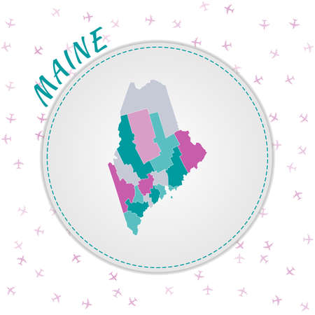 Maine map design. Map of the us state with regions in emerald-amethyst color palette. Rounded travel to Maine poster with us state name and airplanes background. Appealing vector illustration.