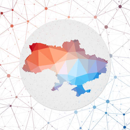 Abstract vector map of Ukraine. Technology in the country geometric style poster. Polygonal Ukraine map on 3d triangular mesh backgound. EPS10 Vector.