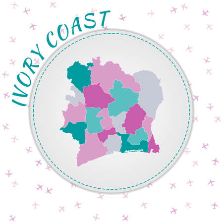 Ivory Coast map design. Map of the country with regions in emerald-amethyst color palette. Rounded travel to Ivory Coast poster with country name and airplanes background. Neat vector illustration.