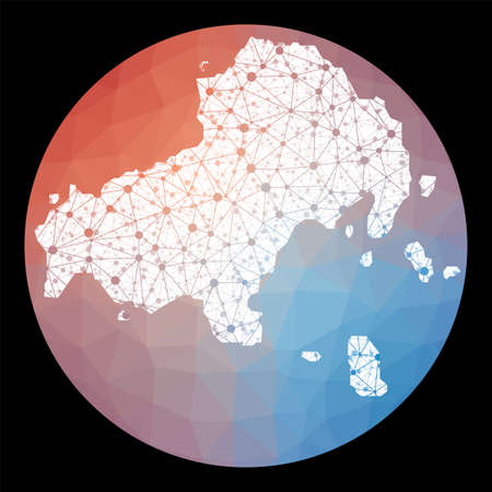 Vector network Skiathos map. Map of the island with low poly background. Rounded Skiathos illustration in technology, internet, network, telecommunication concept style. Vettoriali