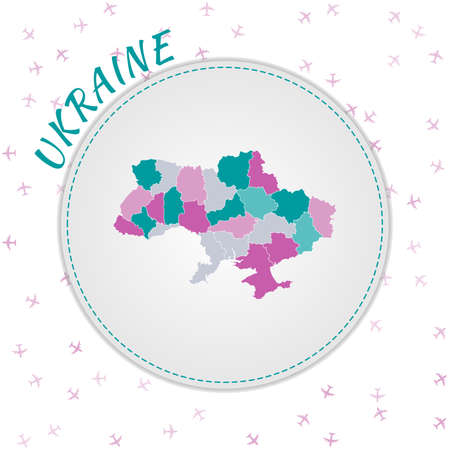 Ukraine map design. Map of the country with regions in emerald-amethyst color palette. Rounded travel to Ukraine poster with country name and airplanes background. Neat vector illustration.
