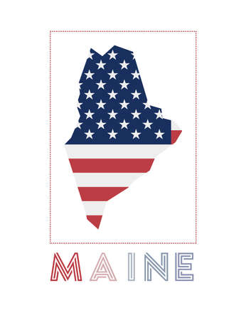 Maine Logo. Map of Maine with us state name and flag. Attractive vector illustration.