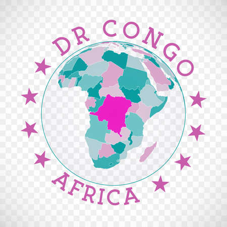 DR Congo round logo. Badge of country with map of DR Congo in world context. Country sticker stamp with globe map and round text. Captivating vector illustration. Logó