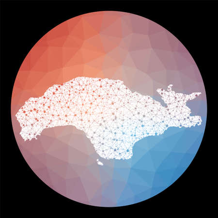 Vector network Samos map. Map of the island with low poly background. Rounded Samos illustration in technology, internet, network, telecommunication concept style . Creative vector illustration.