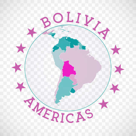 Bolivia round logo. Badge of country with map of Bolivia in world context. Country sticker stamp with globe map and round text. Superb vector illustration.