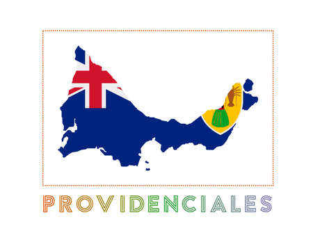 Providenciales Logo. Map of Providenciales with island name and flag. Beautiful vector illustration.