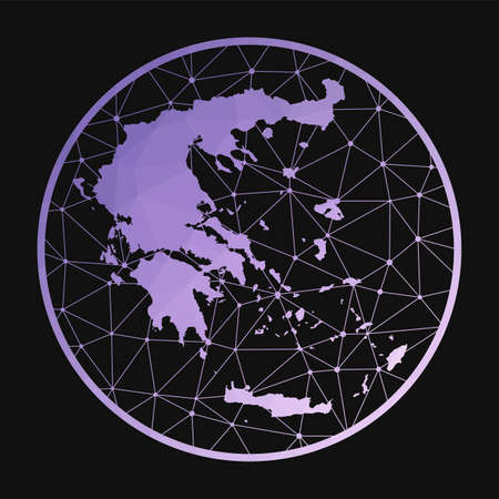 Greece icon. Vector polygonal map of the country. Greece icon in geometric style. The country map with purple low poly gradient on dark background.