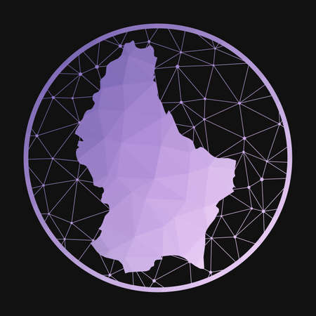 Luxembourg icon. Vector polygonal map of the country. Luxembourg icon in geometric style. The country map with purple low poly gradient on dark background.