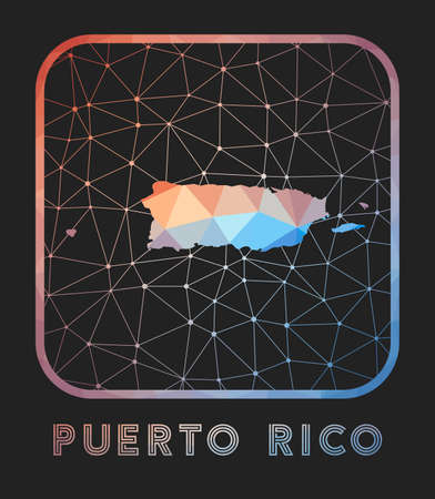 Puerto Rico map design. Vector low poly map of the country. Puerto Rico icon in geometric style. The country shape with polygnal gradient and mesh on dark background. Vectores