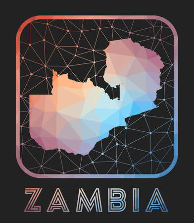 Zambia map design. Vector low poly map of the country. Zambia icon in geometric style. The country shape with polygnal gradient and mesh on dark background.