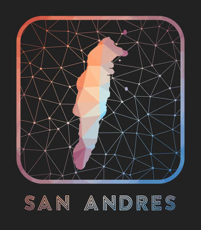 San Andres map design. Vector low poly map of the island. San Andres icon in geometric style. The island shape with polygnal gradient and mesh on dark background. 向量圖像