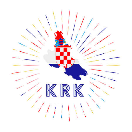 Krk sunburst badge. The island sign with map of Krk with Croatian flag. Colorful rays around the logo. Vector illustration.
