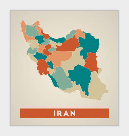 Iran poster. Map of the country with colorful regions. Shape of Iran with country name. Elegant vector illustration. 向量圖像