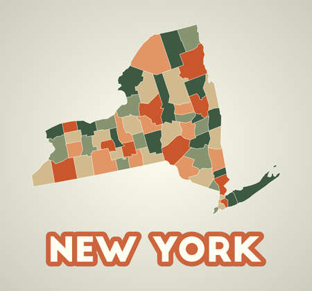 New York poster in retro style. Map of the us state with regions in autumn color palette. Shape of New York with us state name. Trendy vector illustration.