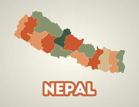 Nepal poster in retro style. Map of the country with regions in autumn color palette. Shape of Nepal with country name. Beautiful vector illustration.