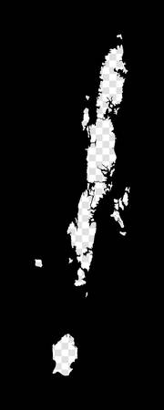 Stencil map of Andaman Islands. Simple and minimal transparent map of Andaman Islands. Black rectangle with cut shape of the island. Charming vector illustration. 向量圖像