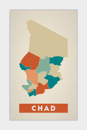 Chad poster. Map of the country with colorful regions. Shape of Chad with country name. Astonishing vector illustration.