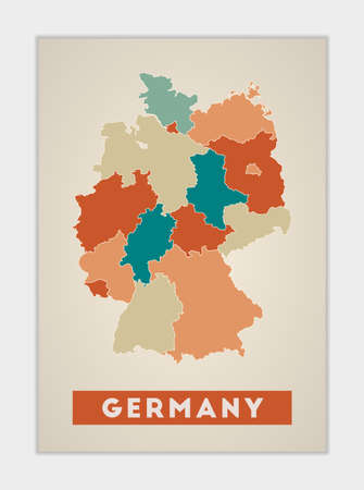 Germany poster. Map of the country with colorful regions. Shape of Germany with country name. Artistic vector illustration.