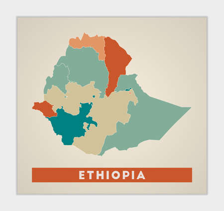 Ethiopia poster. Map of the country with colorful regions. Shape of Ethiopia with country name. Creative vector illustration.