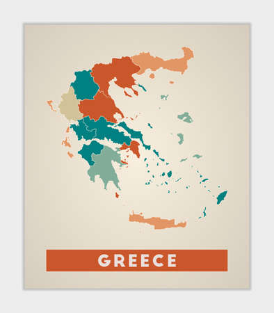 Greece poster. Map of the country with colorful regions. Shape of Greece with country name. Artistic vector illustration.