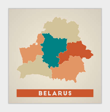 Belarus poster. Map of the country with colorful regions. Shape of Belarus with country name. Astonishing vector illustration.