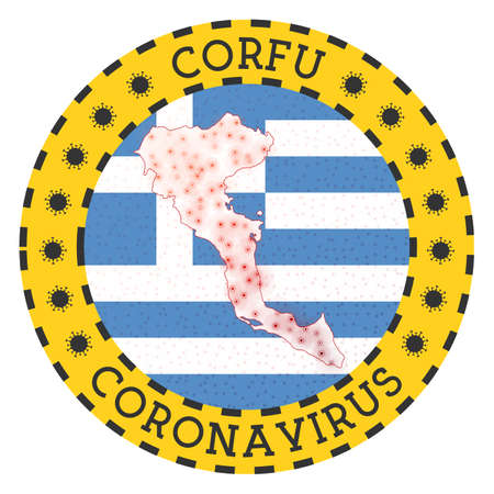 Coronavirus in Corfu sign. Round badge with shape of Corfu. Yellow island lock down emblem with title and virus signs. Vector illustration.