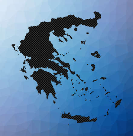 Greece geometric map. Stencil shape of Greece in low poly style. Astonishing country vector illustration. Vettoriali