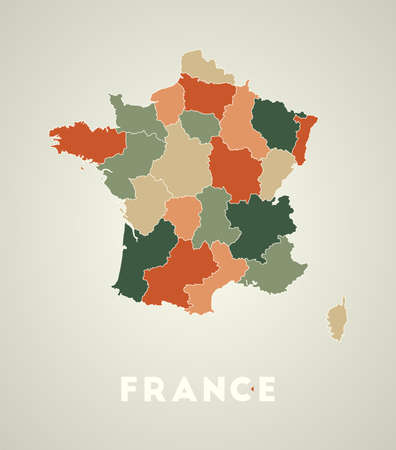 France poster in retro style. Map of the country with regions in autumn color palette. Shape of France with country name. Powerful vector illustration. 矢量图像