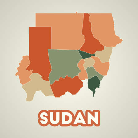 Sudan poster in retro style. Map of the country with regions in autumn color palette. Shape of Sudan with country name. Appealing vector illustration. Vettoriali